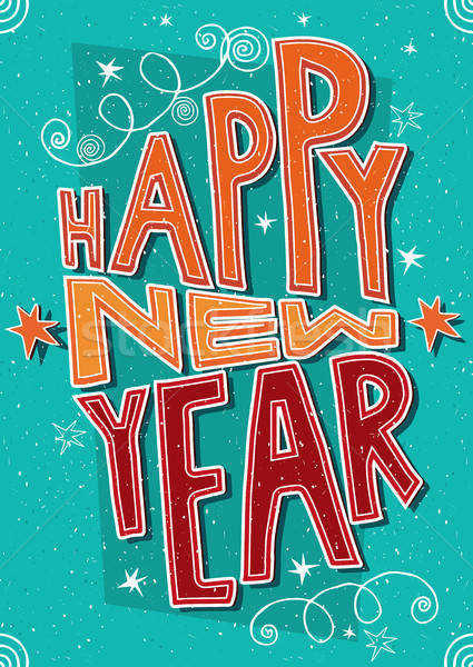 Stock photo: Handmade postcard Happy New Year
