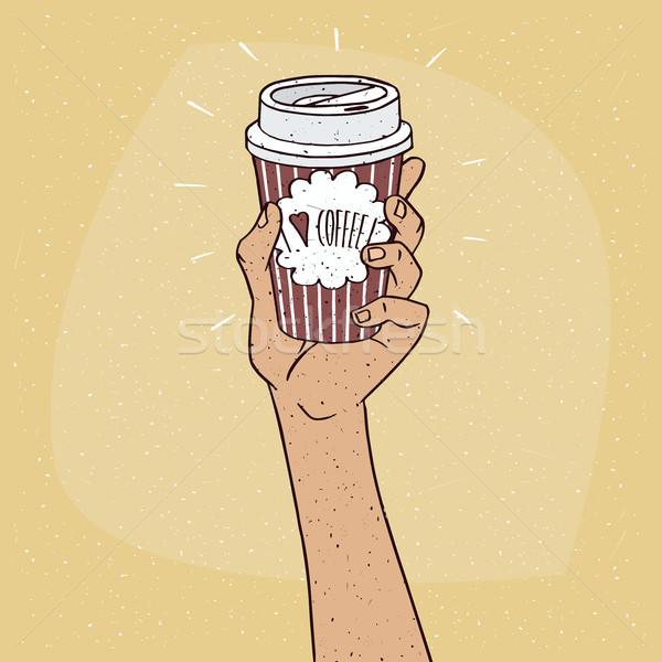 Stockfoto: Liefde · koffie · papier · beker · hand