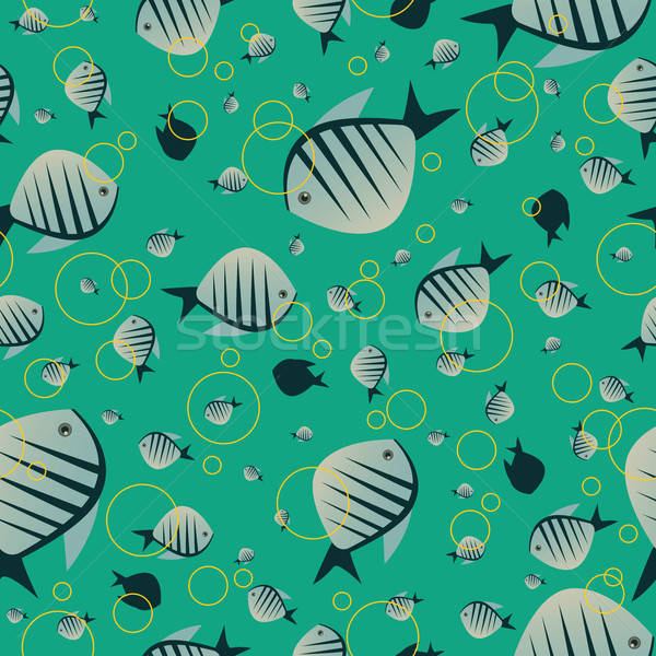 Pattern with cute fish in green color Stock photo © alexanderandariadna