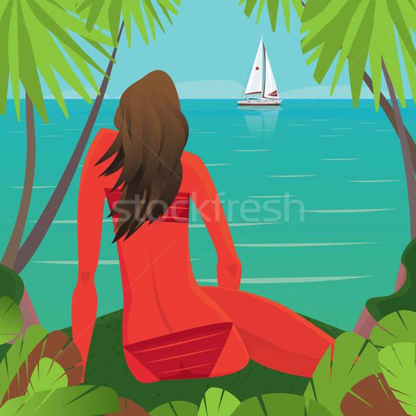 Girl sitting on the beach and watching the boat away Stock photo © alexanderandariadna