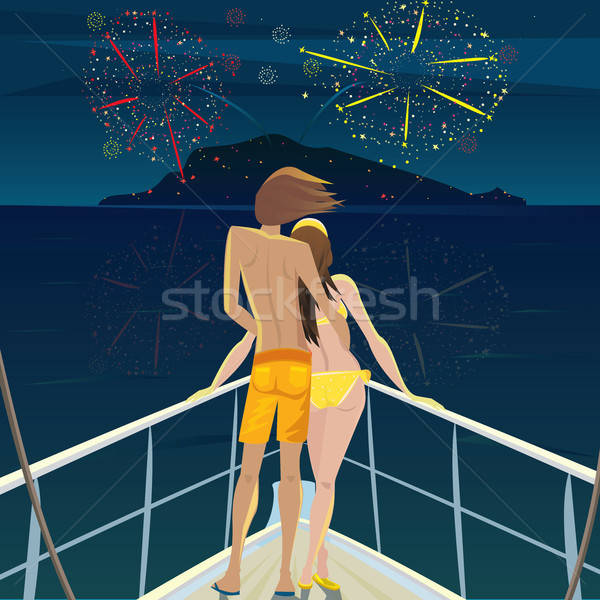 Couple on the ship admiring the fireworks over the island Stock photo © alexanderandariadna