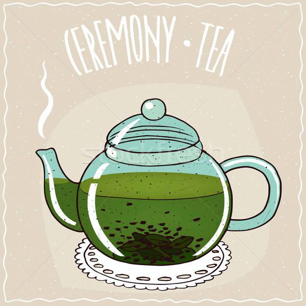 üveg teáskanna zöld tea átlátszó forró hazugság Stock fotó © alexanderandariadna