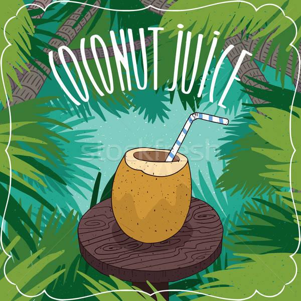 Fresh coconut juice in coconut fruit or nut Stock photo © alexanderandariadna