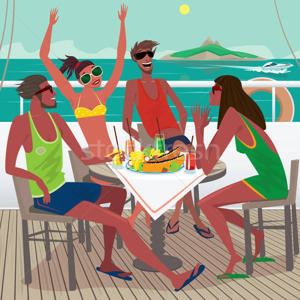 Friends eating breakfast on the deck of a ship Stock photo © alexanderandariadna