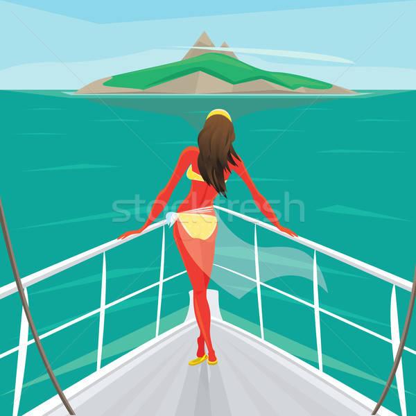 Menina em pé iate admirar ilha beautiful girl Foto stock © alexanderandariadna