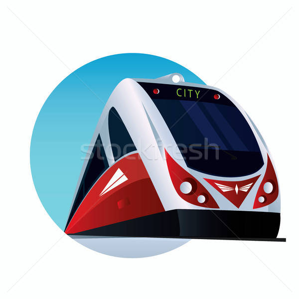 Round emblem with a modern passenger train Stock photo © alexanderandariadna