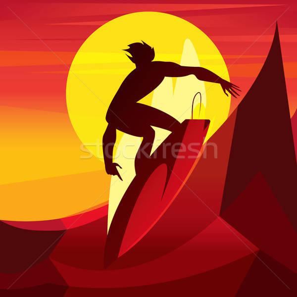 Sziluett szörfös naplemente egészséges férfi lovaglás Stock fotó © alexanderandariadna