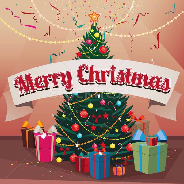 陽気な クリスマス スプルース 贈り物 ホーム おめでとうございます ストックフォト © alexanderandariadna
