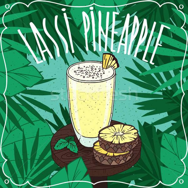 Pineapple Indian drink Lassi with fresh juice Stock photo © alexanderandariadna
