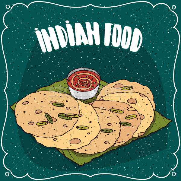 Indian flatbread with sauce like chutney Stock photo © alexanderandariadna