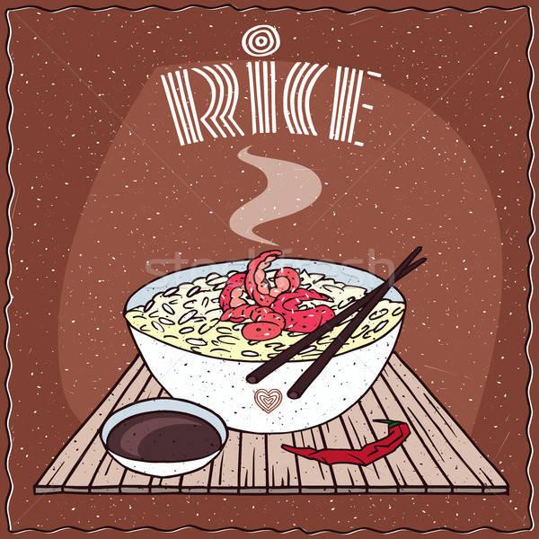 Stock photo: Asian rice Dal bhat or Nasi kandar with shrimp