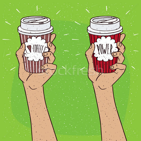Set of two hands holding cup of coffee Stock photo © alexanderandariadna