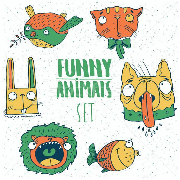 Set of cartoon animal emblems Stock photo © alexanderandariadna