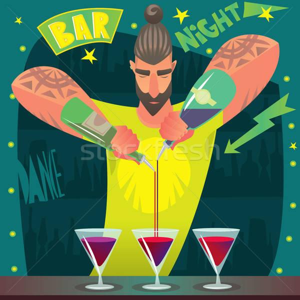 Barman cócteles de moda jóvenes largo pelo Foto stock © alexanderandariadna