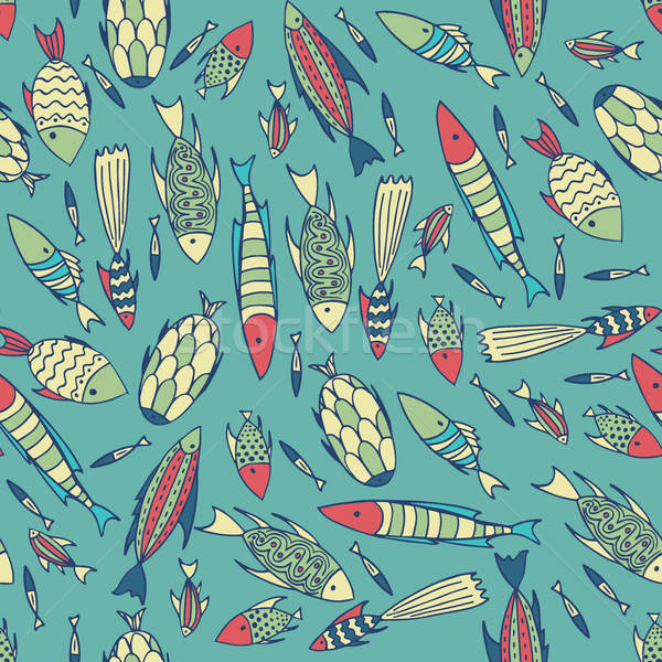 Cyan pattern with fishes in a chaotic manner Stock photo © alexanderandariadna