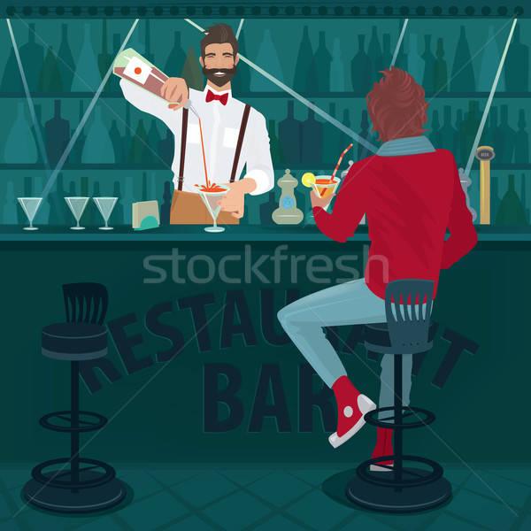 Guy sitting near bartender and drinking cocktail Stock photo © alexanderandariadna