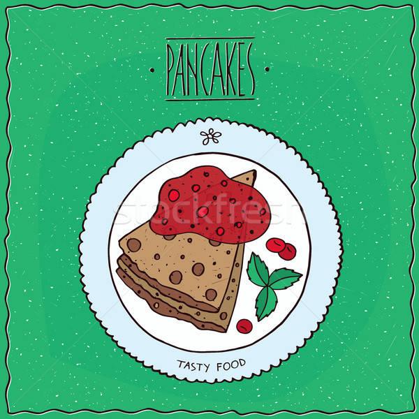 先頭 表示 パンケーキ 赤 液果類 美しい ストックフォト © alexanderandariadna