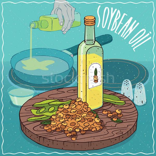 Soja Óleo usado comida vidro garrafa Foto stock © alexanderandariadna