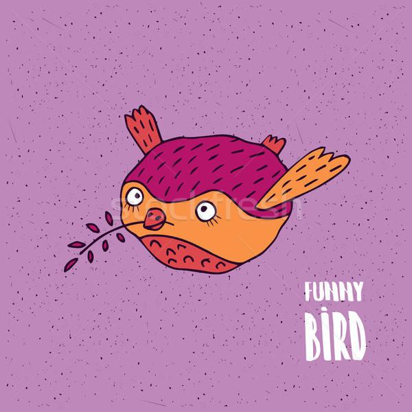 Bonitinho pássaro vôo feito à mão desenho animado estilo Foto stock © alexanderandariadna