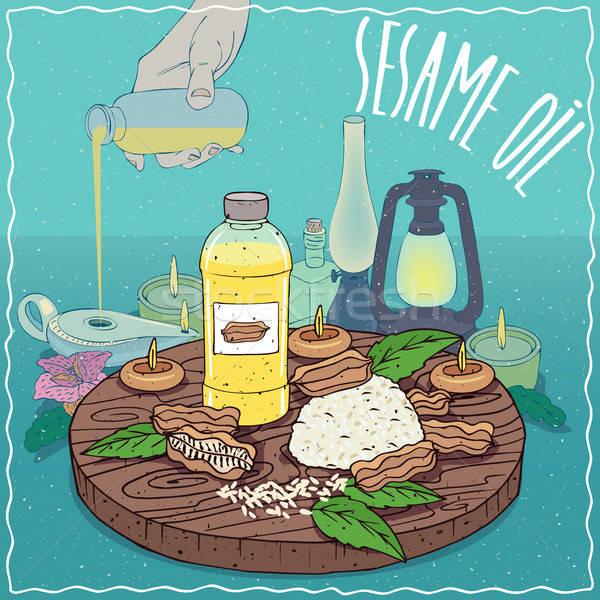 Sesame oil used as fuel for oil lamp Stock photo © alexanderandariadna