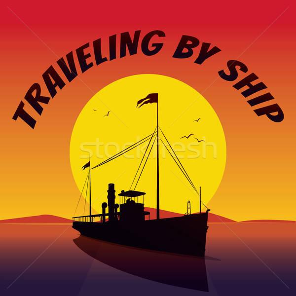 Silhouet cruiseschip zonsondergang schilderachtig oude Stockfoto © alexanderandariadna