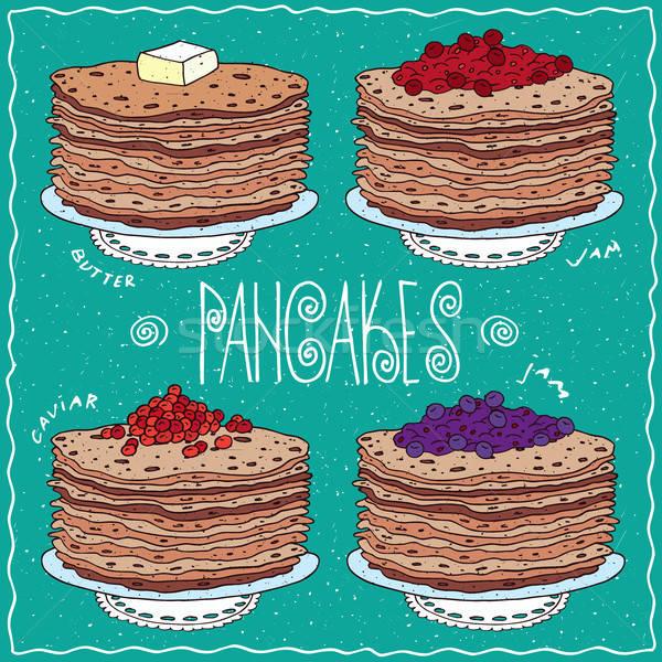 Set of thin pancakes in handmade cartoon style Stock photo © alexanderandariadna