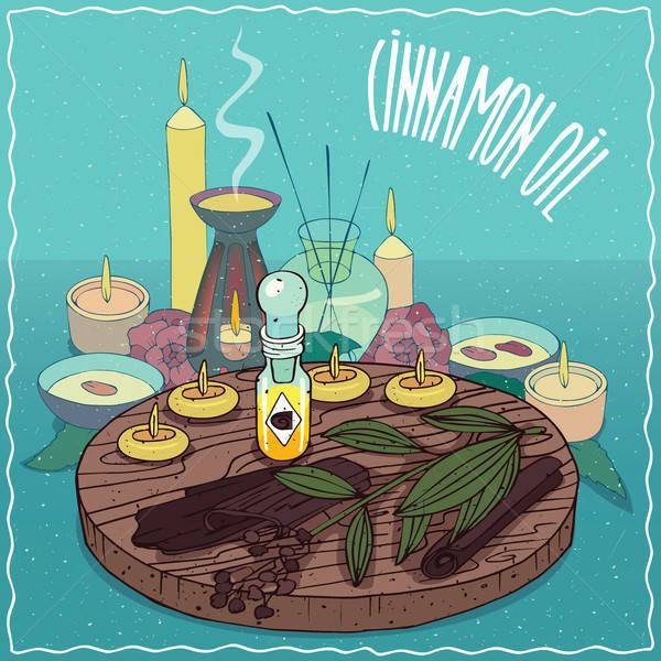 Cannella olio usato aromaterapia vetro Foto d'archivio © alexanderandariadna