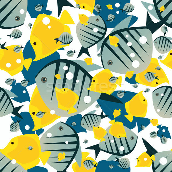 Pattern with cute big fish in white color Stock photo © alexanderandariadna