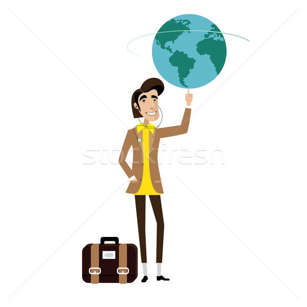 Reiziger man wereldbol vinger witte zak Stockfoto © alexanderandariadna