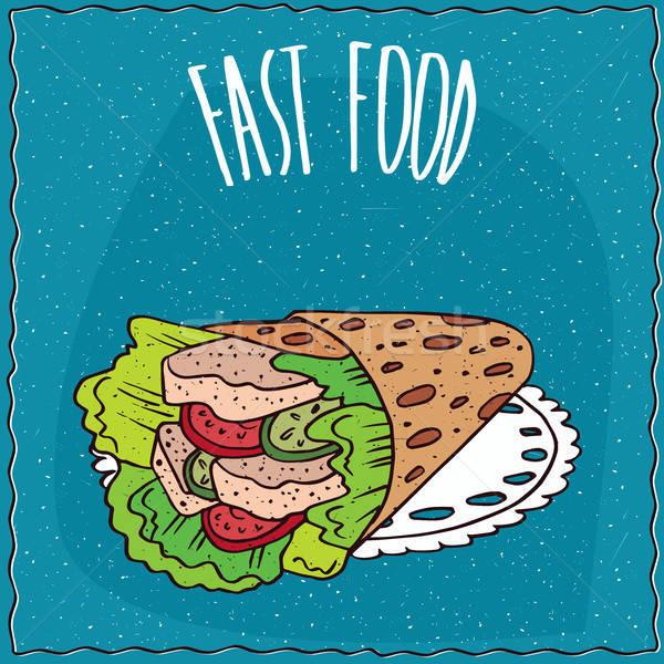 Fast food pita jak węgierski kłamać Zdjęcia stock © alexanderandariadna
