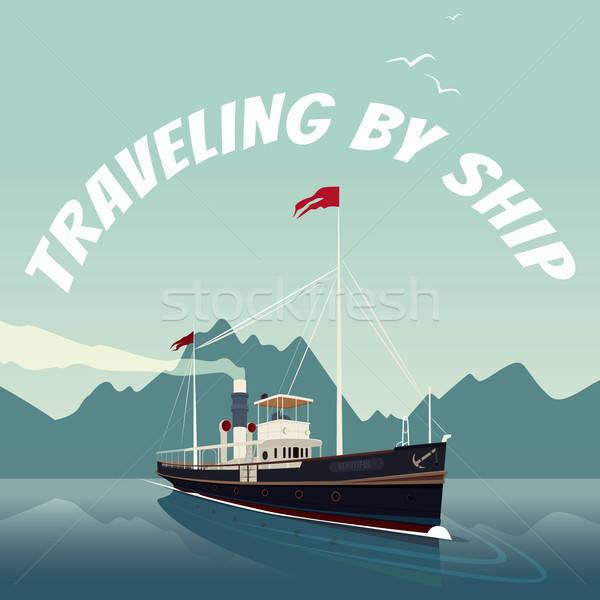 レトロな クルーズ船 海 日 風光明媚な 古い ストックフォト © alexanderandariadna