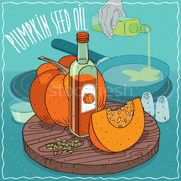 Pumpkin seed oil used for frying food Stock photo © alexanderandariadna
