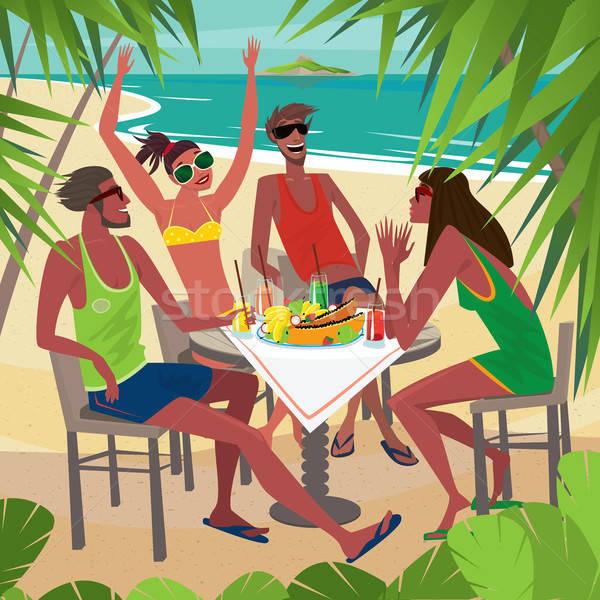 Friends eating breakfast at a table on the beach Stock photo © alexanderandariadna
