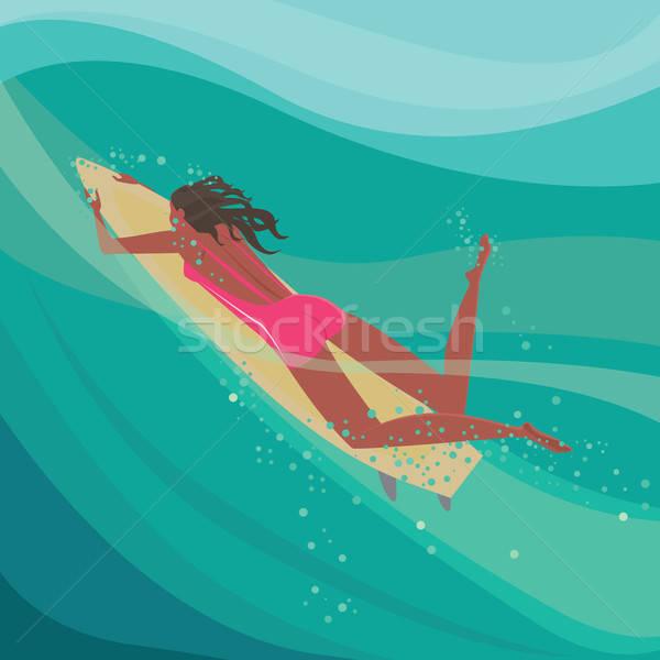 Girl on a surfboard in the ocean Stock photo © alexanderandariadna