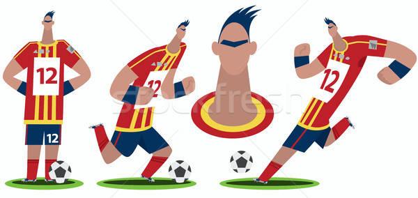 Ayarlamak Komik Karikatür Futbolcu Stilize Futbol Vektör