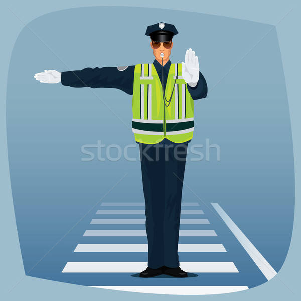 Officer of traffic police standing at crossroads Stock photo © alexanderandariadna