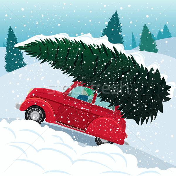 Előkészítés új év retro autó karácsonyfa hó Stock fotó © alexanderandariadna