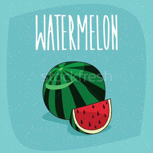 Isolated ripe watermelon fruit and cut piece Stock photo © alexanderandariadna