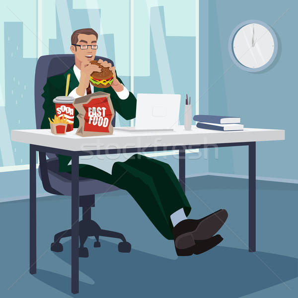 Manager fast food werkplek gelukkig zakenman man Stockfoto © alexanderandariadna