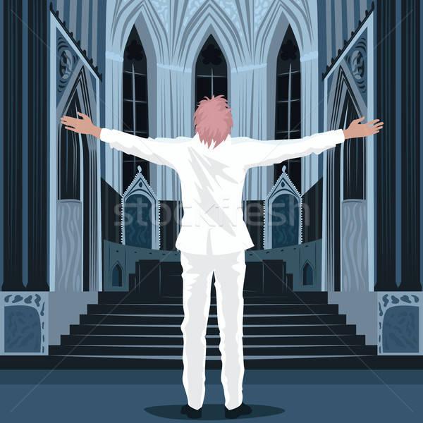 Homem em pé dentro catedral igreja branco Foto stock © alexanderandariadna