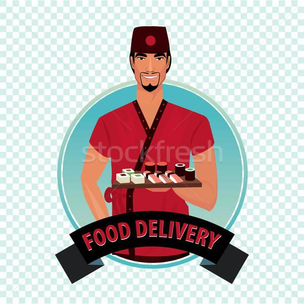 Round icon on white background with food courier Stock photo © alexanderandariadna