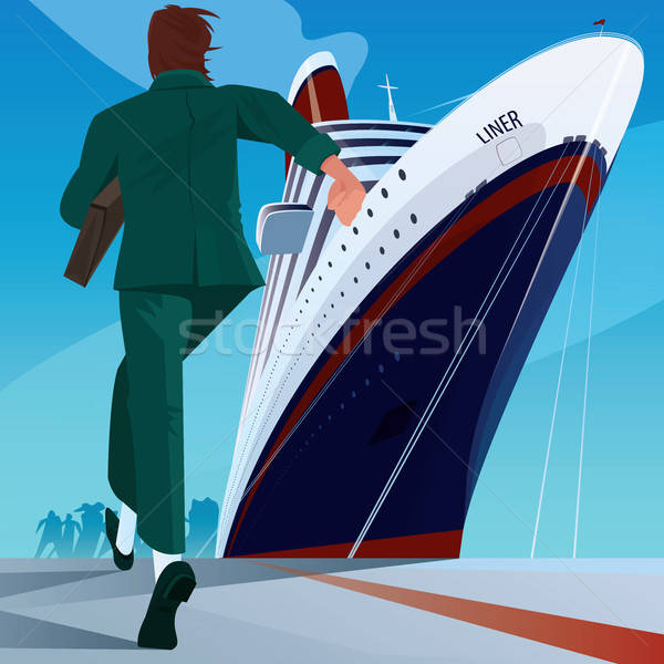 男 ドック を実行して 船 ビジネス ストックフォト © alexanderandariadna