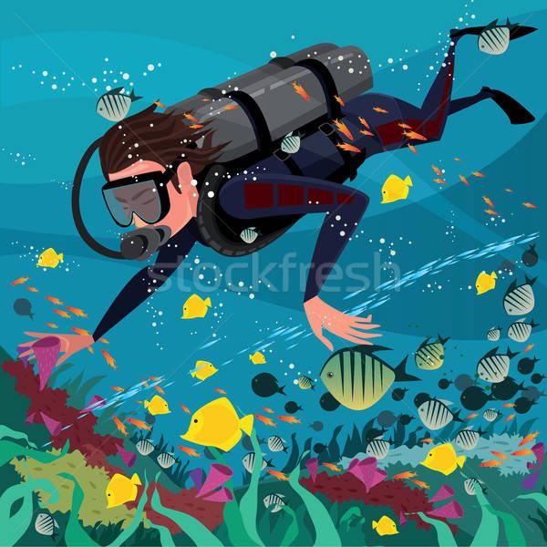 Man studying marine life Stock photo © alexanderandariadna