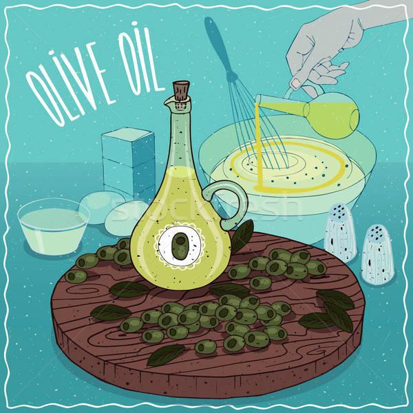 Stockfoto: Olijfolie · gebruikt · koken · glas · vruchten · plant