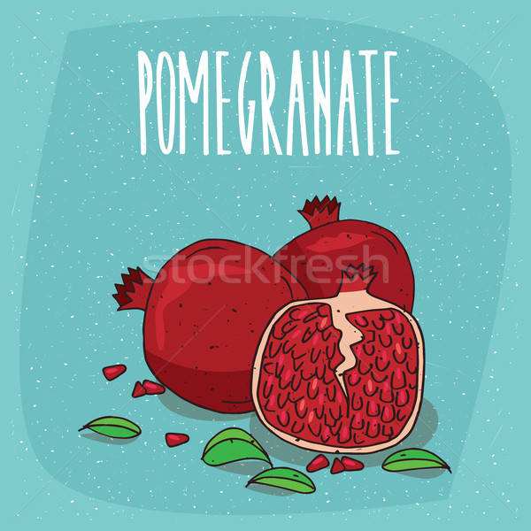 Isolated ripe pomegranate fruits with leaves Stock photo © alexanderandariadna