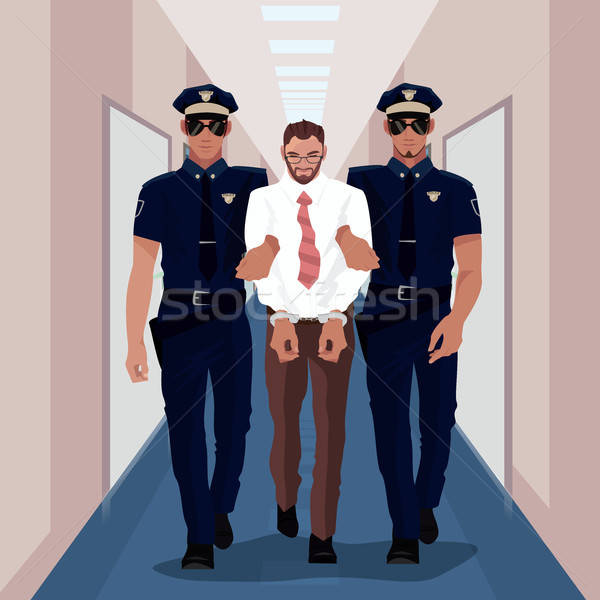 Police officers arrested businessman at office Stock photo © alexanderandariadna