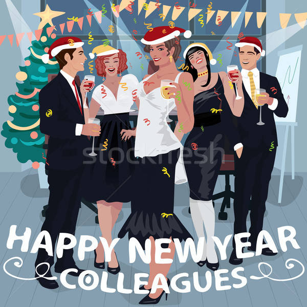 Stock photo: Employees congratulate colleagues with New Year