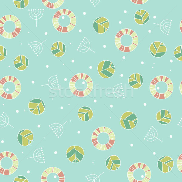 Pattern with cute leaves in blue color Stock photo © alexanderandariadna