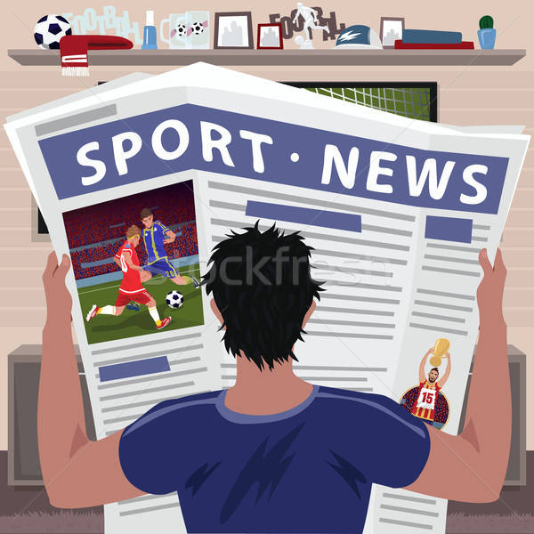 Futball ventillátor olvas sportok hírek fiatalember Stock fotó © alexanderandariadna