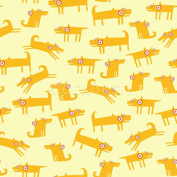 Hond patroon Geel naadloos grappig huisdieren Stockfoto © alexanderandariadna